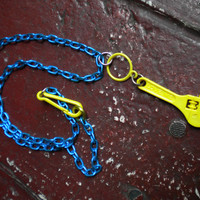 """Yellow """"Love Me"""" Wrench on Neon Blue Chain Necklace"""