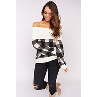 Walk Me Home Plaid Top (Ivory)