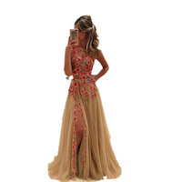 2017 Sexy Sheer Scoop Sleeveless Flowers A-Line Evening Dress Front Slit Tulle Robe De Soiree Formal Evening Gown Prom Dress