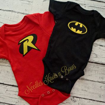 Twin Onesuits, Boy Twins, Batman & Robin Onesuits, Twin Clothing, Twin Boys Superhero Onesuits