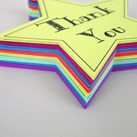 Thank You Star Rainbow Color Tags -- Qty 20 Tags -- Star Shape -- Homemade Paper Goods -- Custom Sizes and Shapes Available