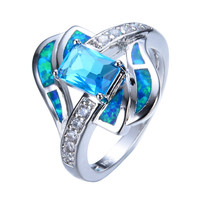 Blue Sapphire jewelry High Quality Opal Ring 14KT White Gold filled 925 sterling silver jewelry wedding rings for women RP0013
