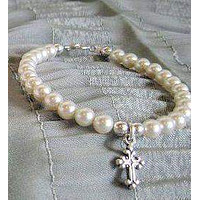 Childs Ivory Pearl Bracelet - Cross - Only 2 Available