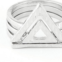 Trio Pyramid Ring Stack - Silver