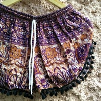 Pom pom Shorts Boho Hobo Elephants print hippie clothing Aztec Ethnic Bohemian Ikat Fashion Unique Beach clothes Summer for Women in Purple
