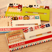 2014 Decoration Stationary Kawaii British Style & Animals Mini Memo Notepad,note Book&memo Pad,sticky Notes Book Mark