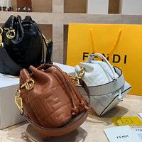 Fendi Embossed Double F Letter Women's Drawstring Bucket Bag