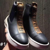 Fendi winter new plus velvet men's high-top versatile casual shoes #1