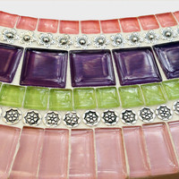 Round Mosaic Mirror for Teen's Room / Mixed Media Mosaic / Purple, Pink, Lime Green
