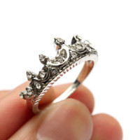 Silver Crown Ring with Sparkling Crystals