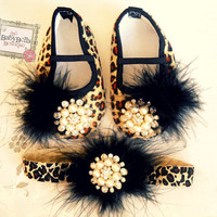 Glamour baby girl  Leopard shoes and by TheBabyBellaBoutique