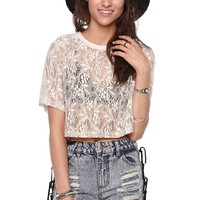 LA Hearts Lace Cropped Top - Womens Tee -