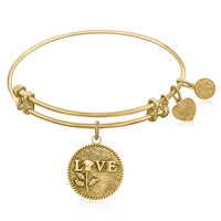 Expandable Bangle in Yellow Tone Brass with Love Special Message Symbol