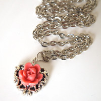 Pink Rose on Silver Heart. Silver Chain Necklace