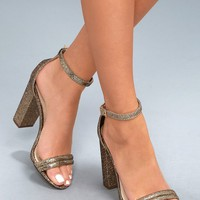 Bex Gold Glitter Ankle Strap Heels