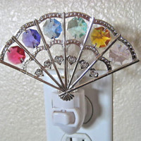 Swarovski Prisms, Fan Night Light, with 6 prisms, Anti Tarnish Silver Plated NIB