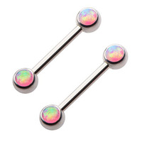 Surgical Steel Purple Synthetic Opal Nipple Ring Pair