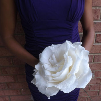 Beautiful Giant Crepe Paper Rose (Available in Various Colors): Perfect for Bridesmaids Bouquets or as a Gift