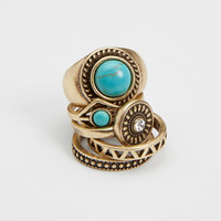 goldtone ring set with turquoise-color stones | maurices