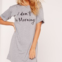 Missguided - I Don't Do Morning's Night T-Shirt Grey