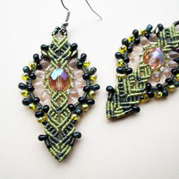 Micro macrame earrings - Black Light Salmon Lemongrass Boho Unique Flower