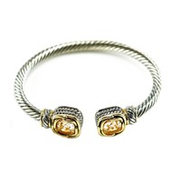 Mariquita Champagne Cushion Crystal Cable Open Bracelet