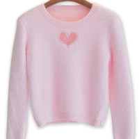 Light Pink Heart Cut Out Fluffy Knit Jumper