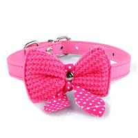 2016 Knit Bowknot Dog Puppy Pet Collars Adjustable PU Leather Necklace small doggy collar candy color on sale drop shipping