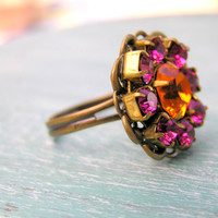 Vintage Rhinestone Cocktail Ring: Fruit Punch