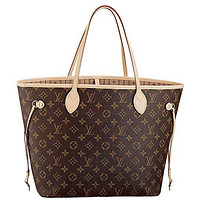 LV Women Shopping Leather Louis Vuitton Neverfull MM Monogram Canvas Handbag Shoulder