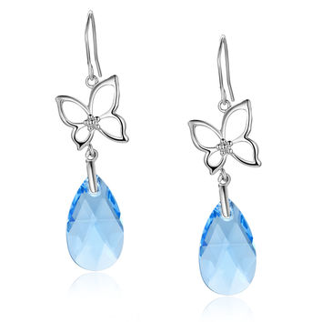 Silvery Butterfly Pear Drop Swarovski Elements Crystal Dangle Earrings - Blue