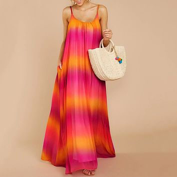 Women Fashion Boho Long Dress Girl Beach Summer Dresses Colorful Rainbow Maxi vestidos de festa Ladies Dress vestidos