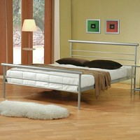 Contemporary metal silver finish platform queen bed with supports