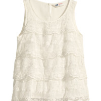 H&M - Lace Tank Top - Natural white - Kids