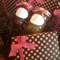 "Homemade small batch jam for Mother's Day!  This gift is ""Jam Packed With Love""!  Choose two - 8 oz. jams in a pink polka dot gift box."