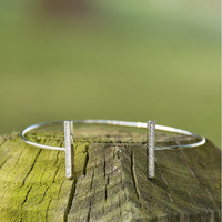Sweet And Simple Crystal Bar Tipped Open Bangle Silver Bracelet