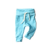 Organic Drawstring Leggings in Ocean Linen