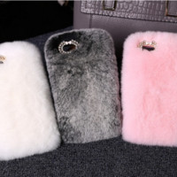 Luxury Bling Rabbit Hair Fur Warm Soft Furry Case Cover Samsung Galaxy S7 Egde