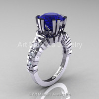 Modern 14K White Gold 3.0 Ct Blue and White Sapphire Solitaire Wedding Anniversary Ring R325-14KWGWSBS