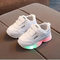 Breathable Luminous Slippery Kids Net Sneakers