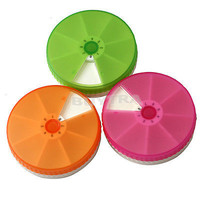 7 Day Weekly Tablet Pill  Medicine Box Case Holder Container Round