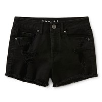 Aeropostale Womens High-Waisted Destroyed Black Wash Shorty Shorts - Black