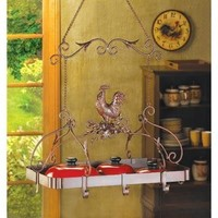 Country Rooster Pot and Pan Rack Kitchen Decor
