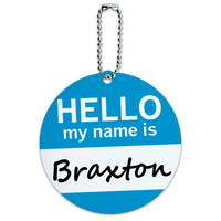 Braxton Hello My Name Is Round ID Card Luggage Tag