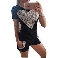 2016 summer Womens suit lace heart Short Sleeve Tops & Shorts 2 Pieces Sets Cute ladies Tracksuits set clothing