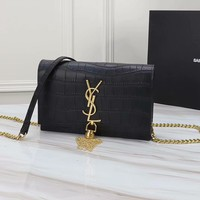 YSL SAINT LAURENT WOMEN'S CROCODILE LEATHER INCLINED CHAIN SHOULDER BAG