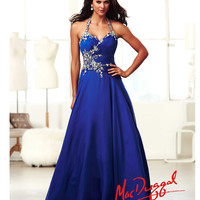 (PRE-ORDER) Mac Duggal 2014 Prom Dresses - Royal Blue & Silver Rhinestone Beaded & Ruched Halter Cut Out Chiffon Gown