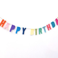 Funfetti Happy Birthday banner, petite funfetti party banner with red, pink, purple, blue, green, yellows