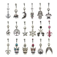 Belly Button Rings With Crystal CZ Gems