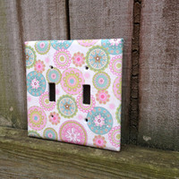 Handmade Custom Pink Green Blue Circle Pattern Decorative Accent Light Switch / Outlet Cover / Switch plate for Baby Room Girl Child Room